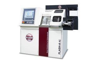 FLASH-A NG Digital-Surfacing-Turning Machine - The new 4-axis machine FLASH-A NG is designed for the production of prescription lenses made of plastic A high dynamic drive concept combined with an ultrafast computer controller enable highest precision in freeform surfacing within shortest processing times For processing backsideprogressive, atoric, individual, front progressive and standard toric surfaces Integrated cribbing spindle for lenses with a very small diameter Optimized automatic loading system for shortes loading/unloading Special machine base for highest precision Mass optimized FastTool highspeed linear drive with highest dynamics Options: Coolant tank; Coolant finest filter; Barcode hand scanner; Remote diagnosis; LAN connection