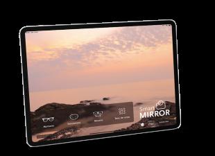 Smart Mirror Mobile - Smart Mirror Mobile sur Ipad est une application multifonctions qui concentre toutes les fonctionnalités des grands appareils autonomes : prise de mesures - simulations de verres et traitements - choix des montures, tests de vision.