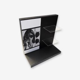 Cardboard display - Cardboard display with Plexiglas shelves. Our displays are tailor made based on the project and on the specific needs.  Optional: Customization with one or more pictures on MOQ.