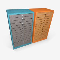 Coloured cabinets - Single cabinet covered externally with an original coloured material and with an extraction knobs on each drawers. Our Cabinets and trunks are tailor-made based on the number of the needed drawers.  Optional: Anti-theft small door, Retractable wheels, Label Holder, Presentation Pad, Protective cover.