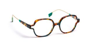 JF1501 - Hand-made acetate frame with thin and lightweight metal end-tips, contemporary style inspired by neo-retro spirit. Elegant and original shape designed with different demi colors plus pop-art vivid colors.