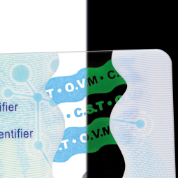 O.V.M Optical Variable Material - Dans le domaine des documents ID, CST développe une gamme d'éléments de sécurité aux propriétés visuelles innovantes qui permettent une vérification multi-niveau (1/2/3) dont une authentification de niveau 1 innovante, rapide et intuitive.<br /><br />En associant propriétés chimiques et phénomènes optiques, ces technologies constituent une toute nouvelle génération d'éléments de sécurisation pour les documents d'identités et les titres fiduciaires.