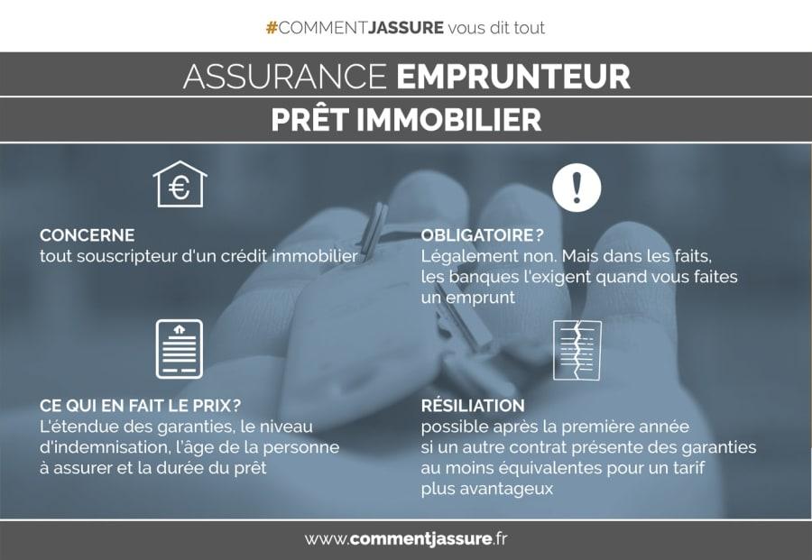 Infographie assurance emprunteur prêt immobilier en bref