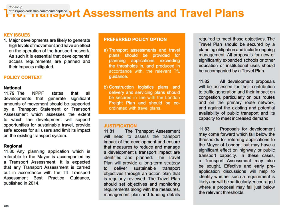 Transport: Transport assessments and travel plans (T10) | OPDC