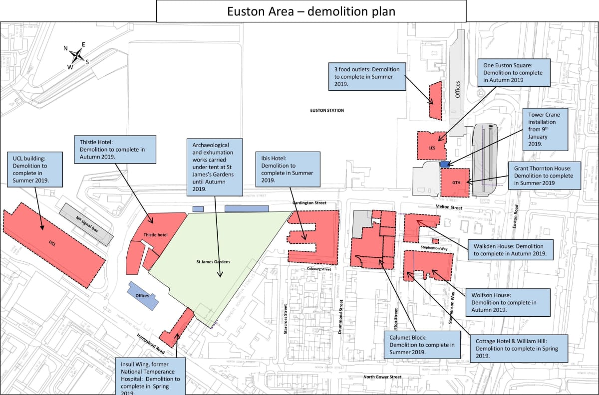 Euston Station Map Demolitions | HS2 in Camden