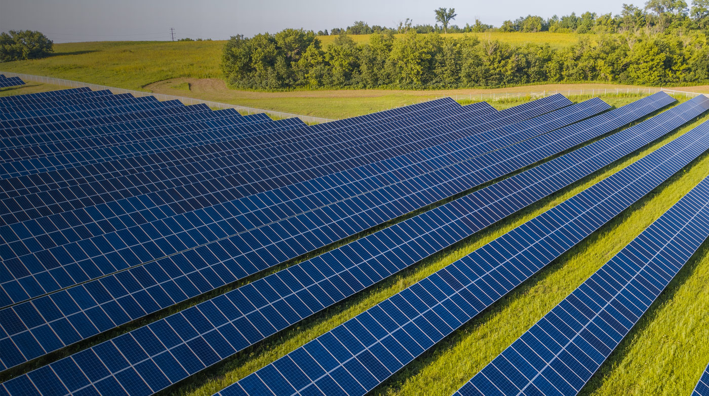 Rows of dark blue solar panels with trees in the background