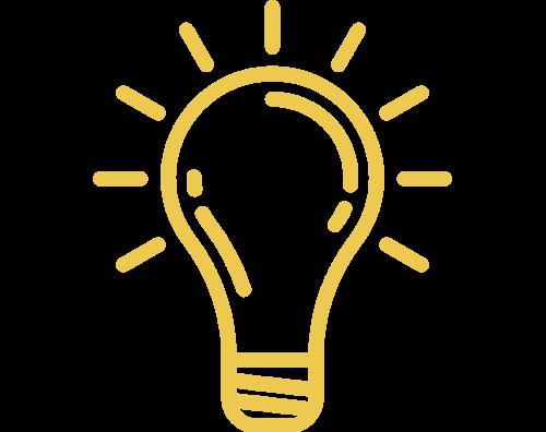 Yellow icon of a shining lightbulb