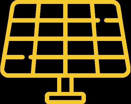 Yellow solar panel icon
