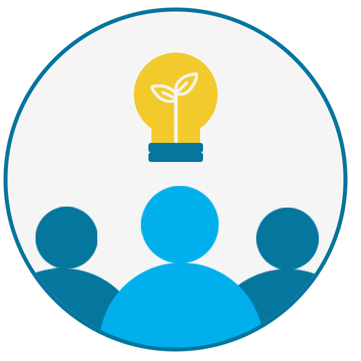 Three people icons with a lightbulb above them inside a circle