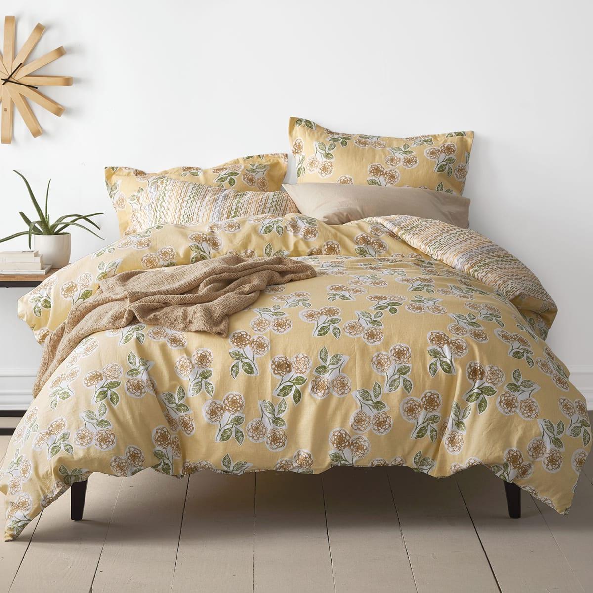 Ashby Floral Stripe Linen Cotton Duvet Cover The Company Store