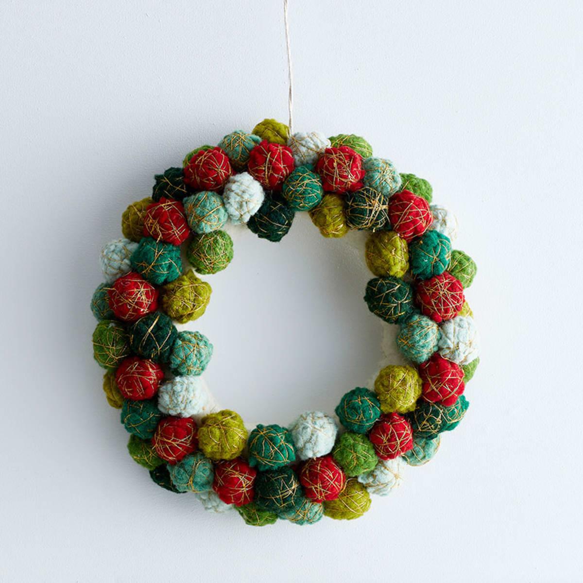 Multi Colored Pom Pom Holiday Felt Wreath