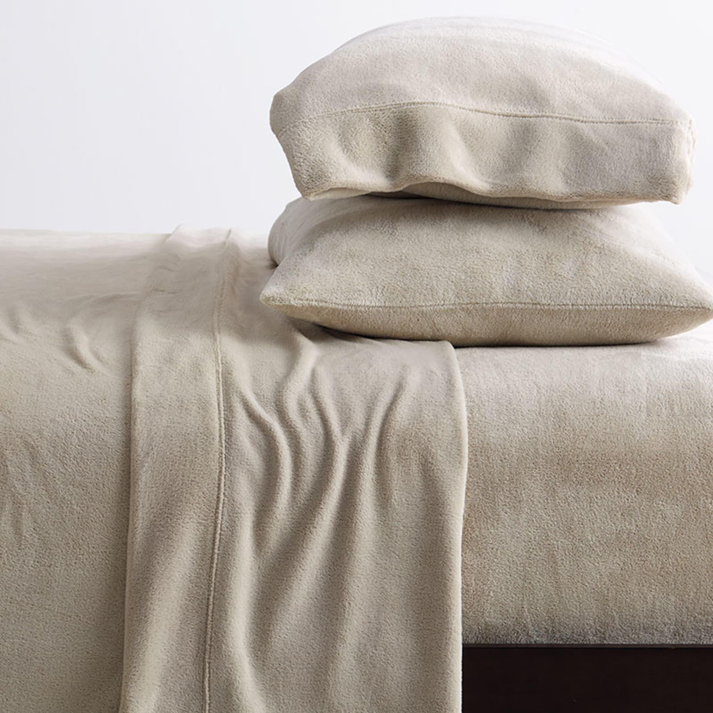 Plush Microfleece Sheet Sets bed room full soft mocha light brown polyester
