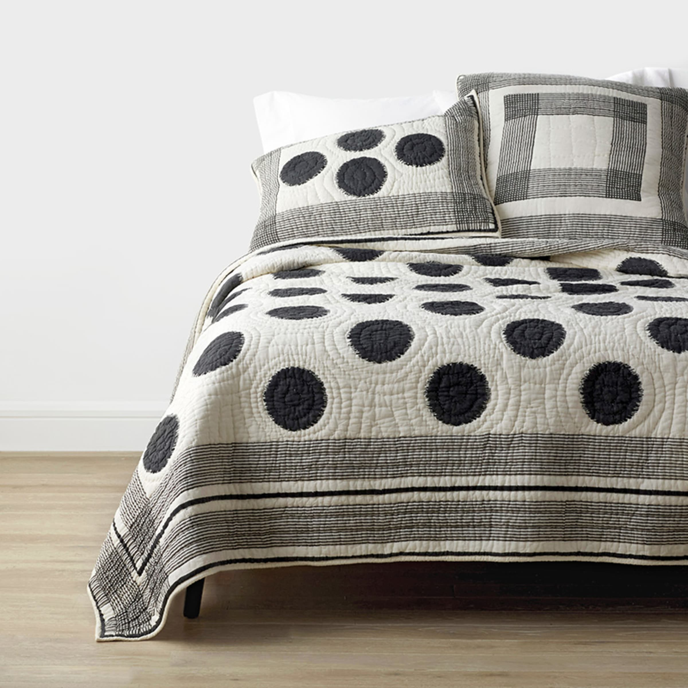 Ink Spot Black And Ivory Cotton Voile Sham