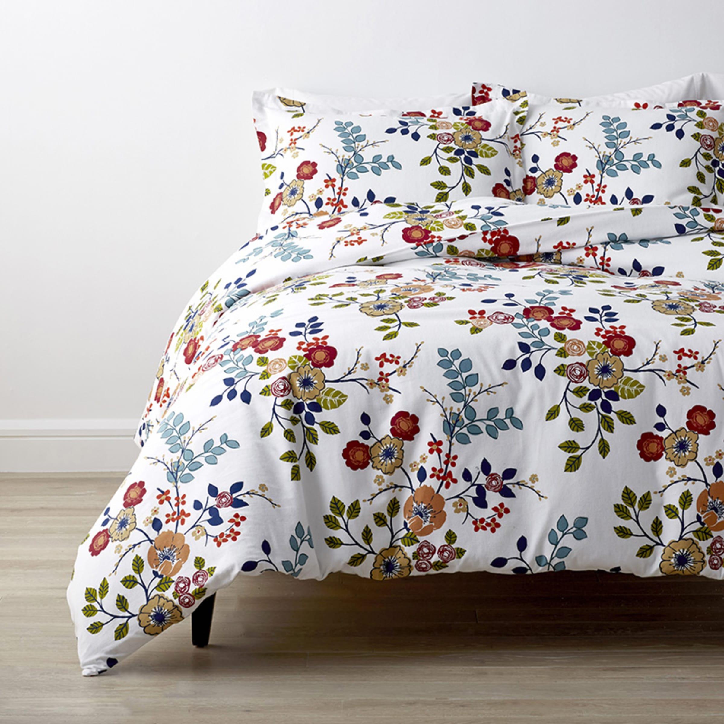 Floral Print Soft Flannel Duvet Cover