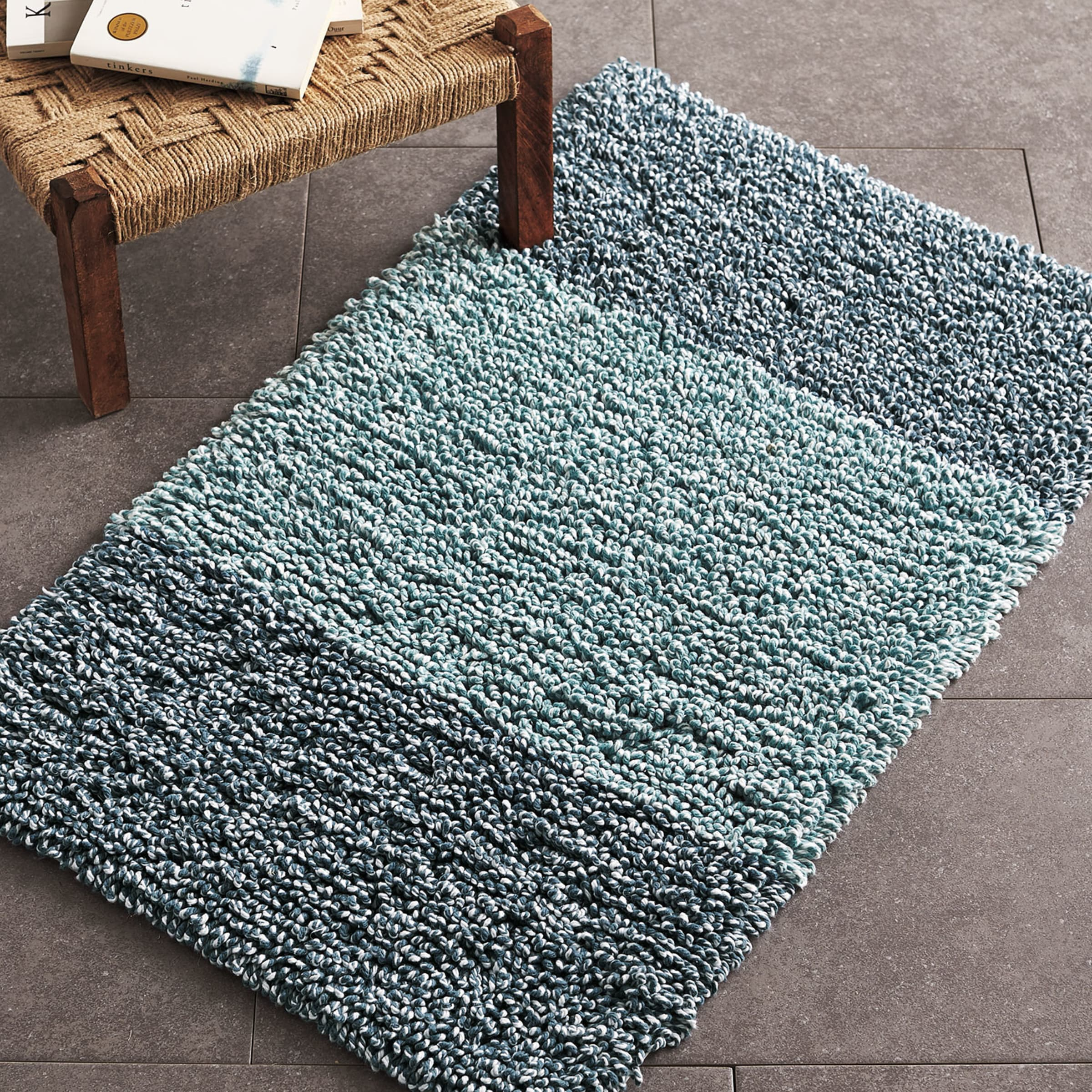 Melange Chunky Loop Cotton Bath Rug Blue The Company Store