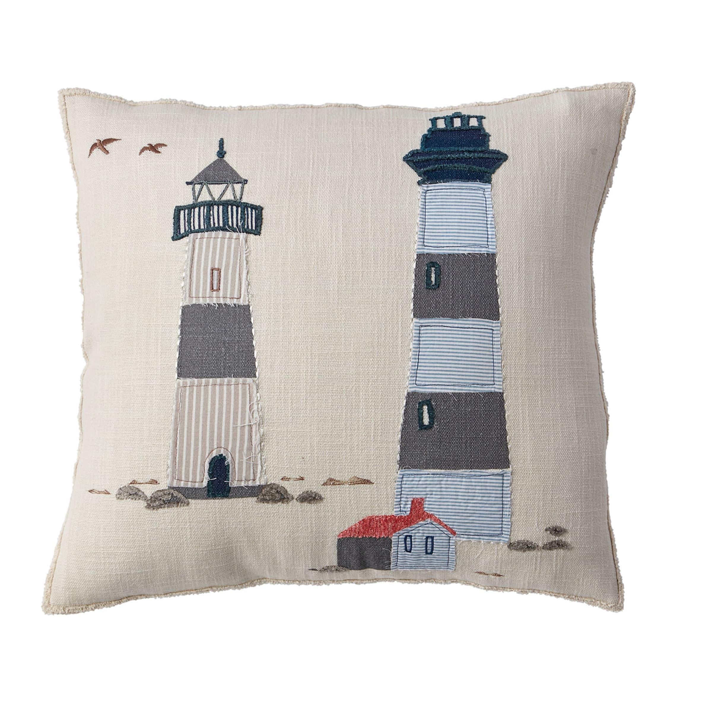 Summer Coastal Pillow Cover Lighthouse Design