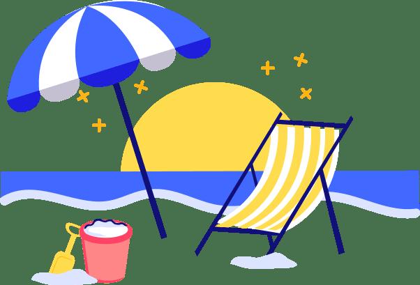 ícone com uma cadeira de praia, um guarda-sol, um balde, o mar e o sol - seguro viagem canadá