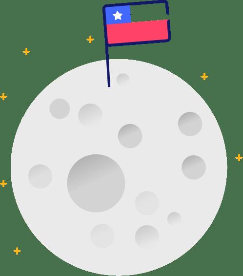 ícone da lua com a bandeira do chile - seguro viagem chile