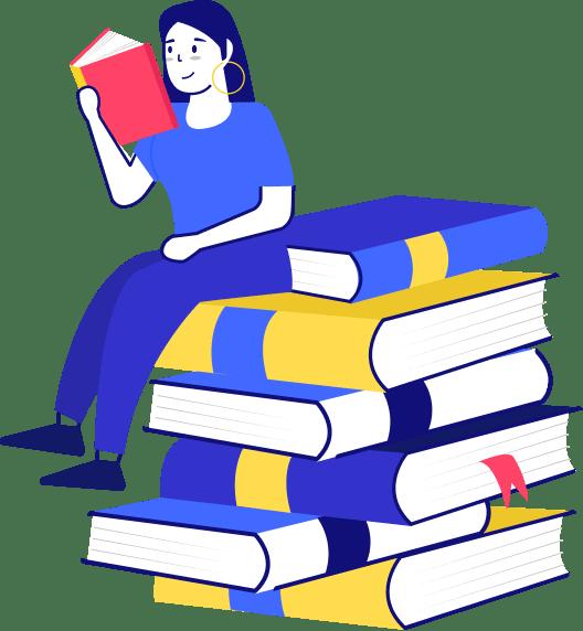 ícone de uma menina sentada numa pilha de livros - seguro viagem portugal