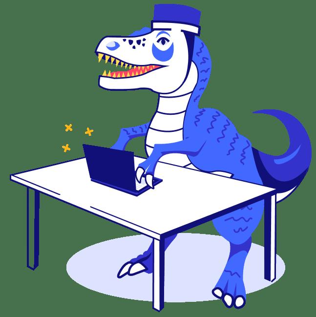 dinossauro digitando - seguro viagem asia