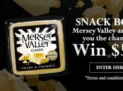 Win $5,000 and a Mersey Valley Cheese Pack or 1 of 10 Cheese Packs