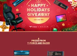 Win a $1,000 Gift CardWin a Razer Iskur Gaming Chair or 1 of 3 TeamGroup Memory/SSD Prizes