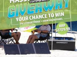 Win a Companion 75L Lithium Camping Fridge & 200W Solar Blanket Charger