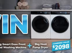 Win a Haier 8kg Smart Dose Front Load Washer and 9kg Heat Pump Dryer