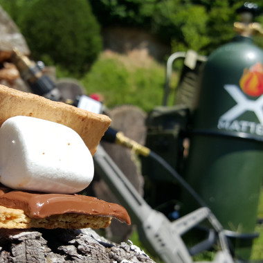 Making S'mores with a Flamethrower