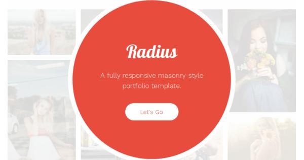 Radius - masonry-style portfolio header template
