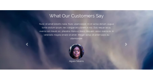 testimonials section with parallax effect