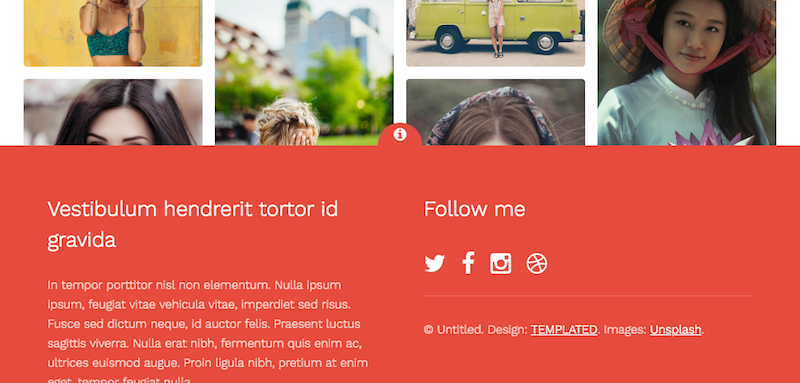 Expandable footer with social network links