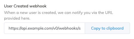 Signup webhook
