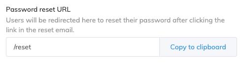 Password Reset URL