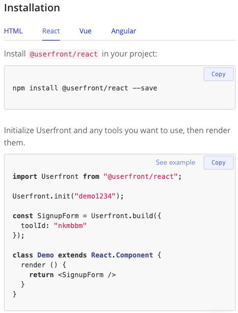 Userfront installation instructions