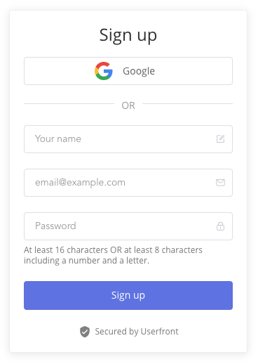 Userfront signup form