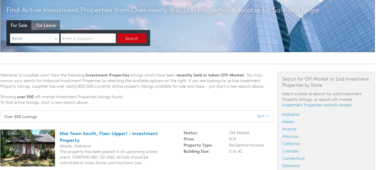 LoopNet Commercial Real Estate Comps