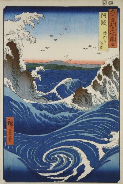 """Utagawa Hiroshige: """"Naruta-Strudel, Provinz Awa"""" (aus der Serie """"Ansichten berühmter Orte in über 60 Provinzen"""", 1853–1856), Farbholzschnitt, Tusche und Farbe auf Papier."""