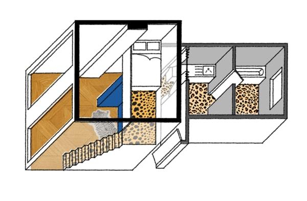 Im Zwischengeschoss schwebt das Bett in luftiger Höhe.