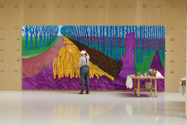"David Hockney arbeitet an seinem Gemälde ""Winter Timber"" (Juli 2009) in Bridlington."