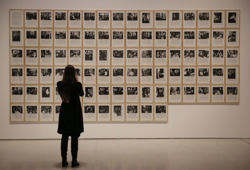 Hanne Darboven artwork. Installation view: Magnificent Obsessions. The Artist as Collector, Barbican Art Gallery.