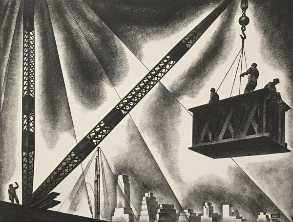"""Louis Lozowicks """"Derricks and Men"""", 1939"""