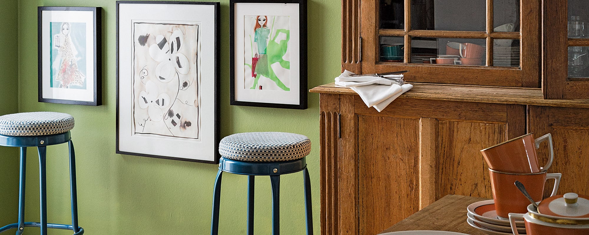 Küche, Hocker, Wandfarbe, Holz, Kommode