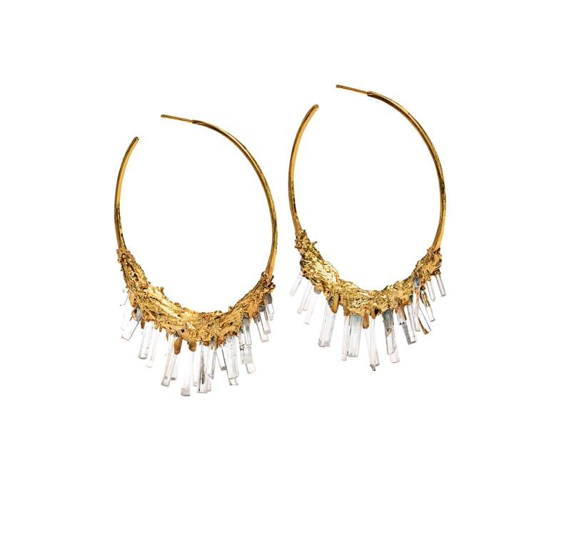"Olivia Creber, ""Giant Aquamarine + Yellow Gold Vermeil Hoops"""
