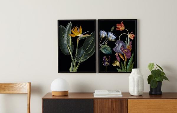 Vintage Blumen, 2x gerahmte Kunstdrucke (A2), Mehrfarbig und Schwarz, € 159