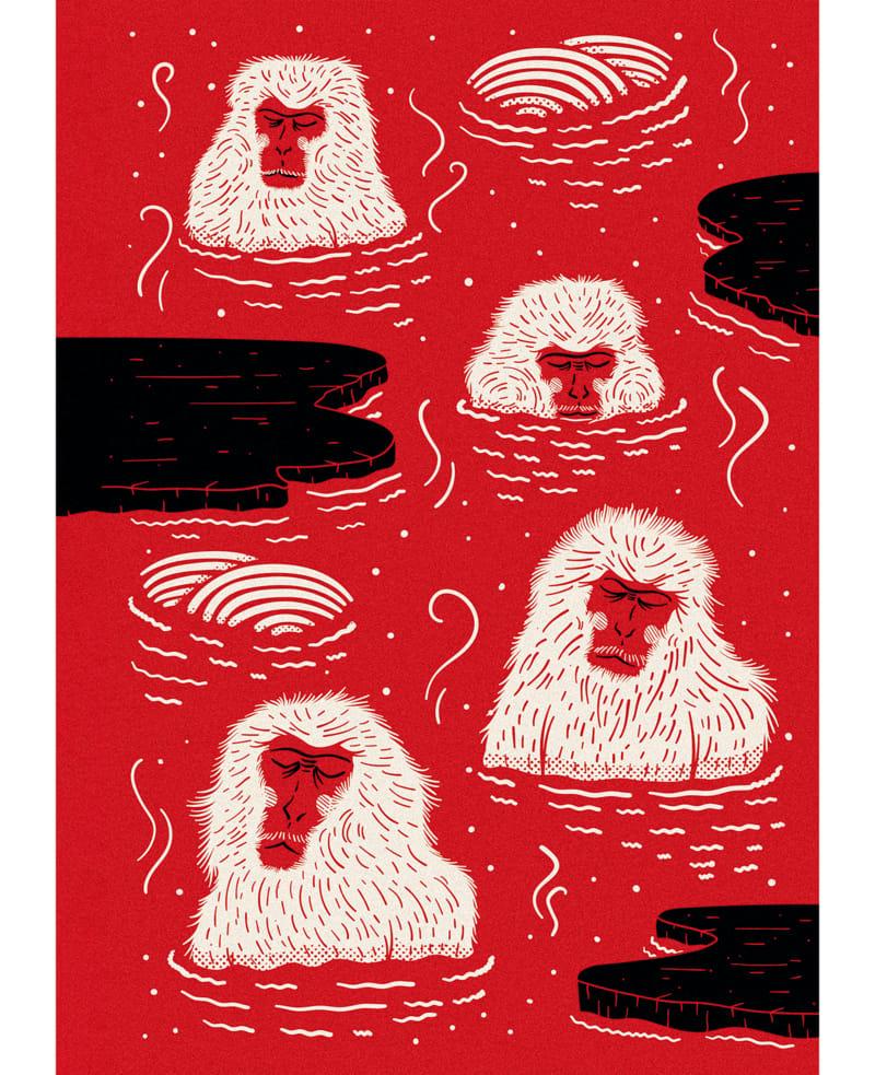 """15. Moooi, """"Indigo Macaque Red"""""""