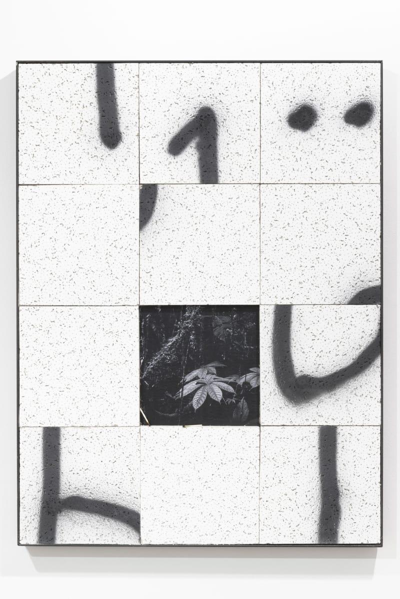 Bryn Lloyd-Evans Shuffle on Three O´clock O´clock 2014, Ceiling tiles, match sticks, mdf, photocopy, spray-paint, steel, tape
