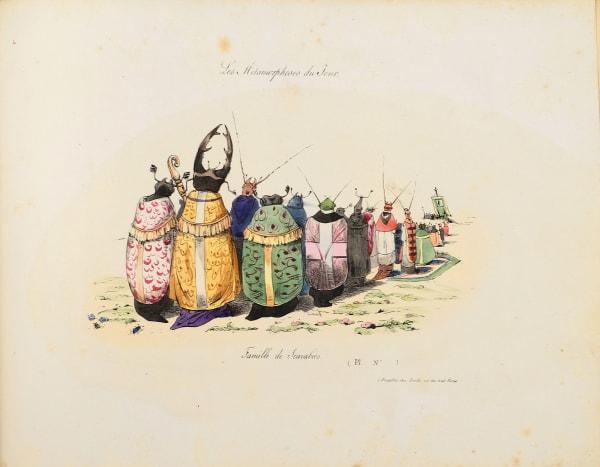 Grandvilles klerikale Käferfamilie rief 1829 die Zensur auf den Plan.