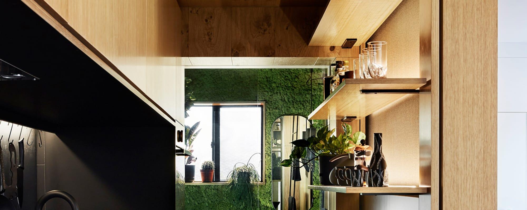 Tsai Design, Type Street Apartment, Eichenholz, Küche, Marmor, Arbeitsplatte, Bad, Microliving