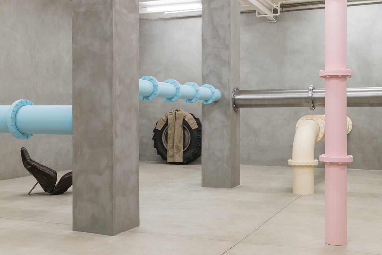 Ausstellung, Galerie, Barcelona, Rohre, Pastell